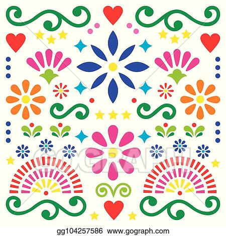 Mexican Folk Art Vector Pattern Colorful Design With Flowers Greeting Card Inspired By Traditional Designs From Mexico