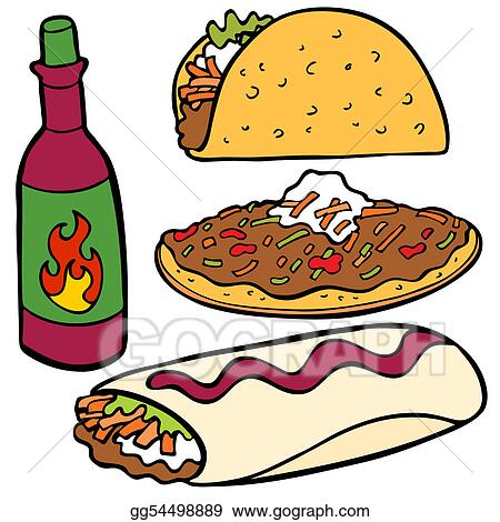 vector stock mexican food items stock clip art gg54498889 gograph rh gograph com mexican food lunch clipart mexican food lunch clipart