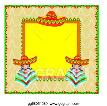 Vector Clipart Mexican Frame With Man In Sombrero Vector