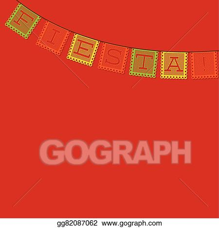 vector art mexican papel picado paper flag decoration card in