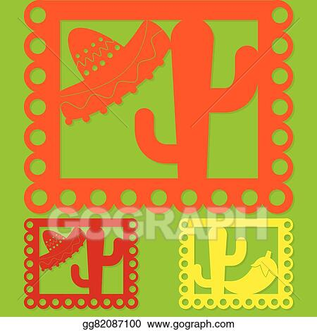vector stock mexican papel picado paper flag decoration set in