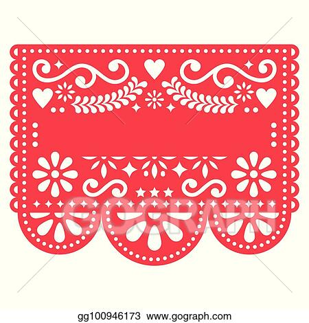 vector art mexican papel picado vector template design