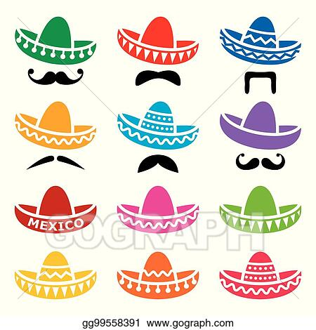Vector Stock - Mexican sombrero hat with moustache or mustache ... 4ba829936b0