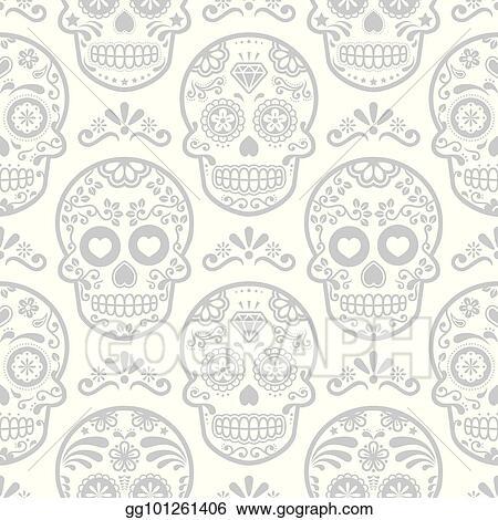 Mexican Sugar Skull Vector Seamless Pattern Halloween Candy Skulls Background Day Of The Dead Celebration Calavera Design