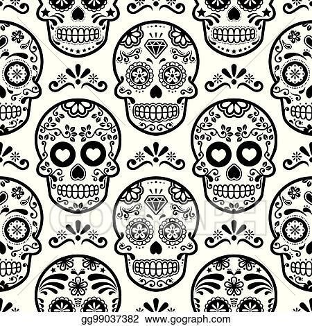Vector Art Mexican Sugar Skull Vector Seamless Pattern Halloween