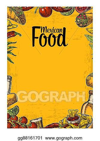 vector illustration mexican traditional food restaurant menu