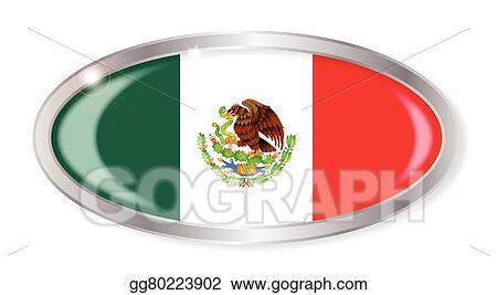 Vector Stock Mexico Flag Oval Button Stock Clip Art