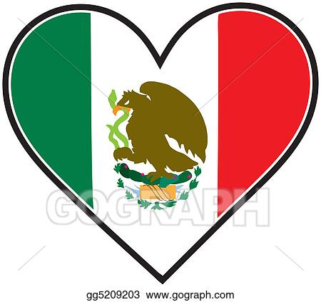 stock illustration mexico heart flag clipart gg5209203 gograph rh gograph com mexican flag clip art free mexico flag clip art black and white