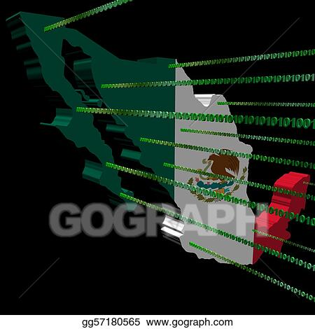 Clipart Mexico Map Flag With Binary Code Stock Illustration