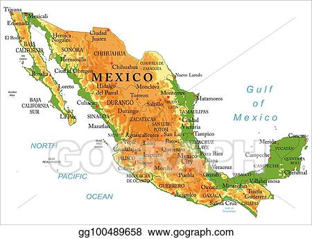 Vector Stock - Mexico physical map. Clipart Illustration gg100489658 ...