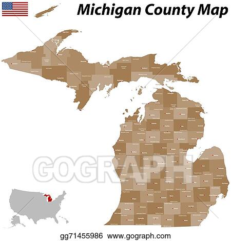 Vector Stock Michigan County Map Clipart Illustration Gg71455986