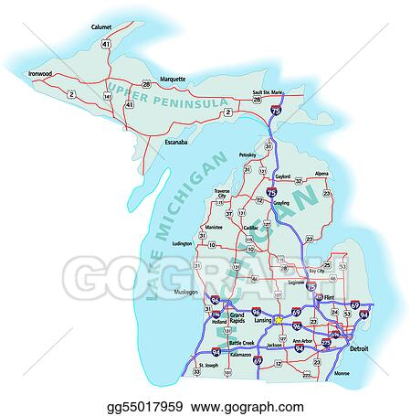 Vector Illustration Michigan State Interstate Map EPS Clipart - State map of michigan