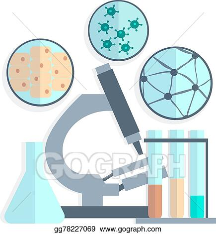 Vector Art Microbiology Petri Dishes Test Tubes Clipart Drawing