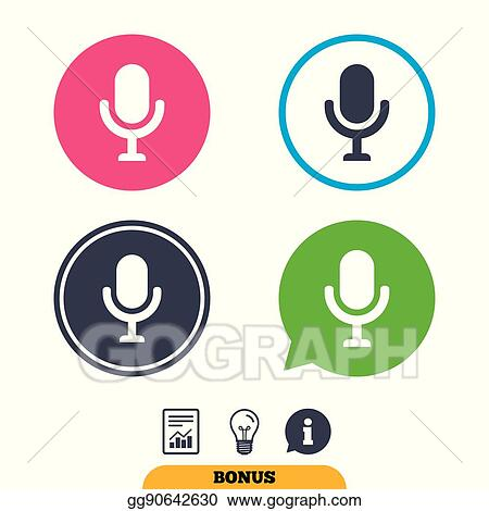 Vector Illustration Microphone Icon Speaker Symbol Live Music