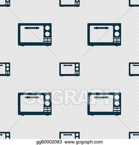 Vector Art Microwave Oven Sign Icon Kitchen Electric Stove Symbol