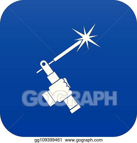 Vector Clipart Mig Welding Torch In Hand Icon Digital Blue Vector Illustration Gg109399461 Gograph