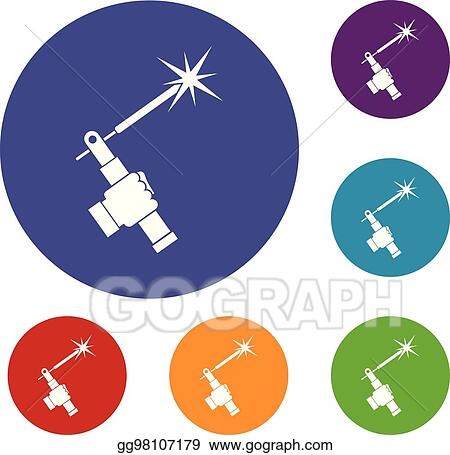 Clip Art Vector Mig Welding Torch In Hand Icons Set Stock Eps Gg98107179 Gograph