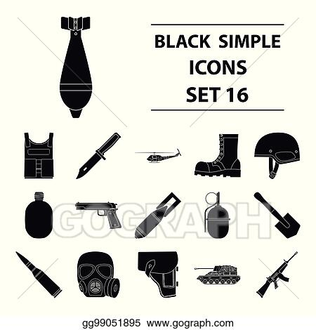 Vector Stock Military And Army Set Icons In Black Style Big