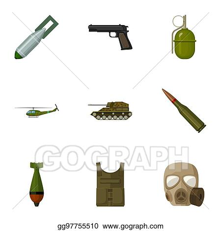 Clip Art - Military and army set icons in cartoon style  big