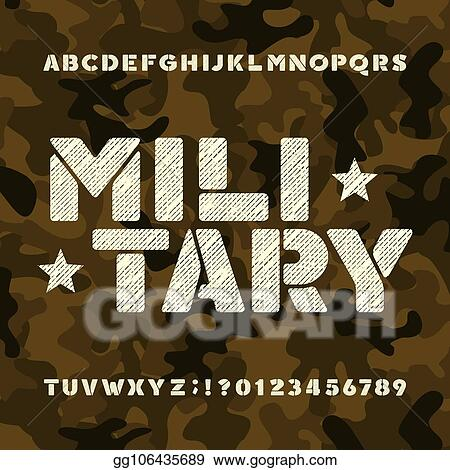 Vector Illustration - Military stencil alphabet font  messy