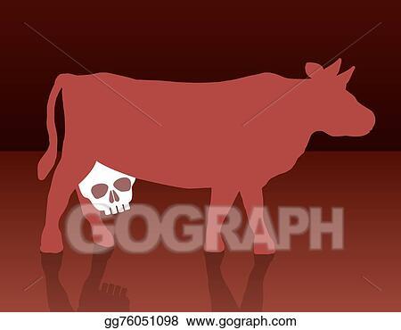 Vector Illustration Milk Cow Unhealthy Skull Stock Clip Art