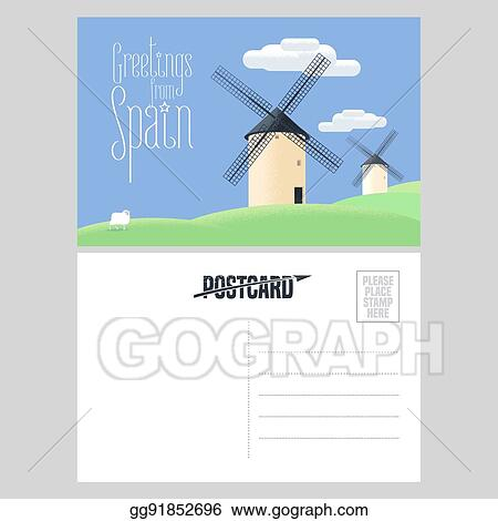 vector illustration mills in spain vector postcard template stock