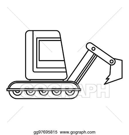 Mini Excavator Icon Outline