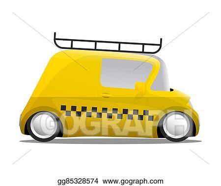 Clipart Vectoriel Mini Voiture Dessin Animé Taxi Jaune