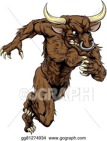 Vector Illustration Minotaur Bull Sports Mascot Running Eps