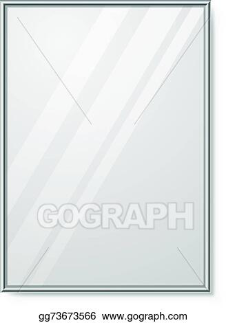 Mirror With Chrome Frame On The Wall Vector Template