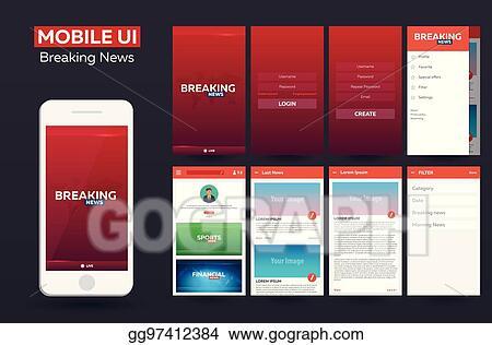 EPS Vector - Mobile app breaking news material design ui, ux