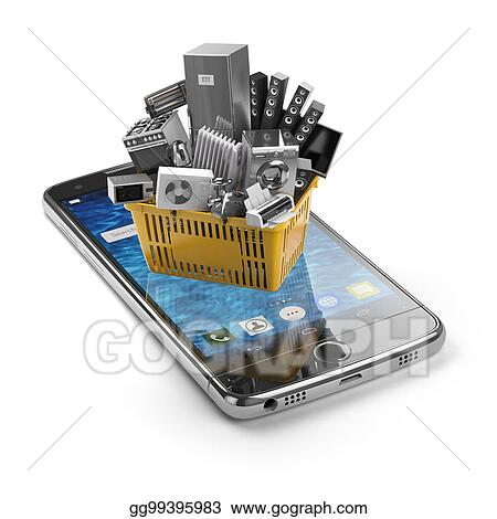 Drawing - Mobile phone and shopping basket with home kitchen ...