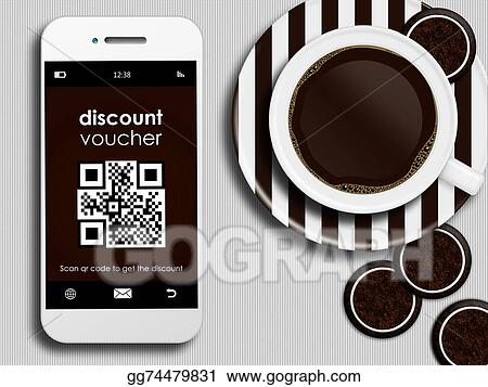 Stock Illustration Mobile Phone With Discount Coupon Cup Of