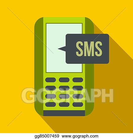 Stock Illustration Mobile Phone With Sms Message Symbol Flat Icon