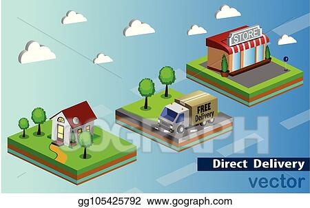 f0079fefb054 Vector Stock - Mobile shopping e-commerce online store flat 3d web  isometric icon and free delivery vector. Stock Clip Art gg105425792