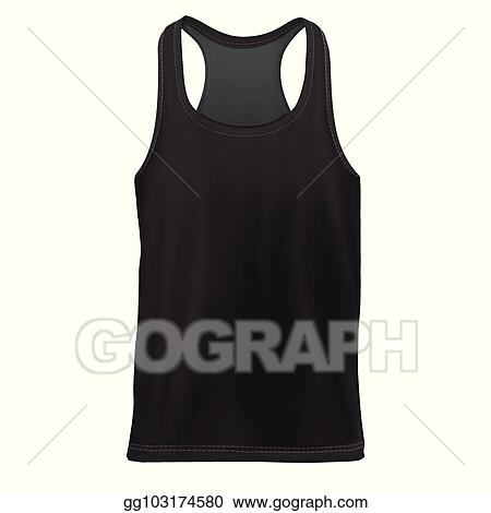 Clip Art Vector - Mock-up black man`s sleeveless shirt ...