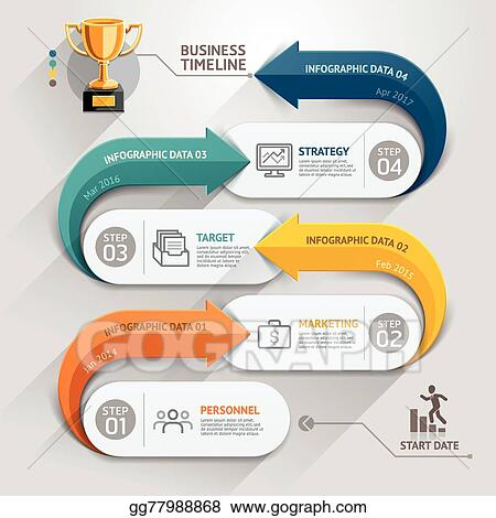 Modern Arrow Business Timeline Template Vector Ilration Can Be Used For Workflow Layout Diagram Number Options Web Design Infographics