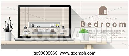 Vector Clipart Modern Bedroom Interior Design Background 5 Vector
