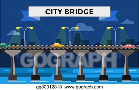Vector Art Modern Bridge Illustration City Night View
