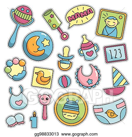 Vector Illustration Modern Cute 80s 90s Retro Baby Isolated