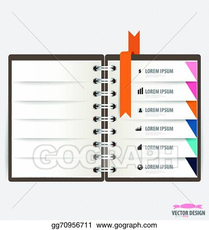 Vector Art - Modern design template of spiral notebook with ribbons ...