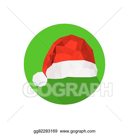 23771b1611024 Vector Clipart - Modern flat origami design with santa hat icon ...