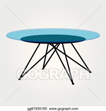 Vector Clipart Modern Glass Coffee Table Vector Illustration