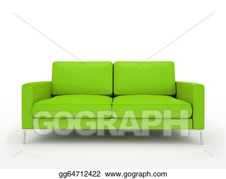 Super Stock Illustration Modern Green Sofa Isolated On White Gamerscity Chair Design For Home Gamerscityorg