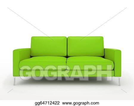 Stock Illustration - Modern green sofa isolated on white background ...
