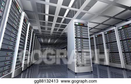 Stock Illustration - Modern interior of server room in datacenter 3d ...