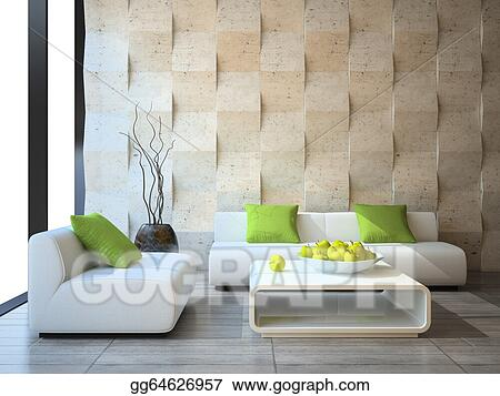 Living Room Designs Indian Style Middle Class, Stock Illustration Modern Interior With Concrete Wall Panels Clipart Illustrations Gg64626957 Gograph