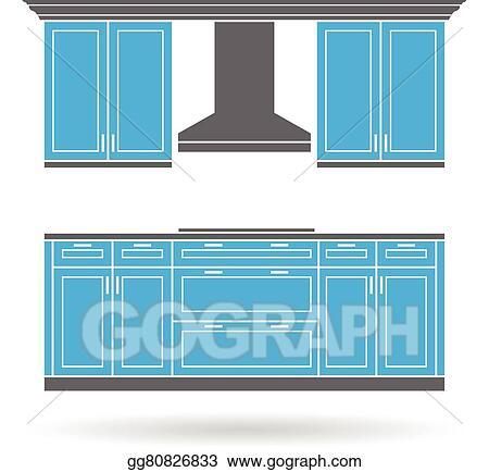 Eps Vector Modern Kitchen Cabinets Stock Clipart Illustration