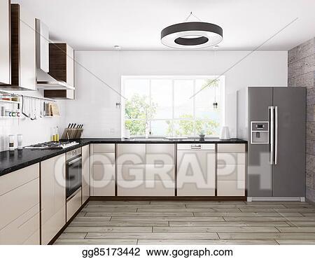 Drawings Modern Kitchen Interior 3d Rendering Stock Illustration