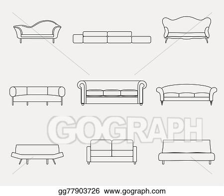 Vector Art - Modern luxury sofas and couches furniture icons ...